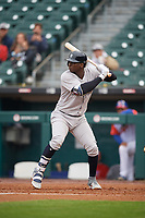 New York Yankees Didi Gregorius (18), on rehab assignment with the Scranton/Wilkes-Barre RailRiders, at bat during an International League game against the Buffalo Bisons on June 5, 2019 at Sahlen Field in Buffalo, New York.  Scranton defeated Buffalo 3-0, the first game of a doubleheader.  (Mike Janes/Four Seam Images)