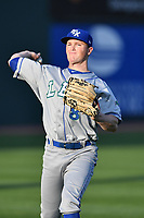 Left fielder Kurt Peterson (8) of the Lexington Legends warms up prior to a game against the Greenville Drive on Wednesday, April 12, 2017, at Fluor Field at the West End in Greenville, South Carolina. Greenville won, 4-1. (Tom Priddy/Four Seam Images)