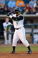 Dave Sappelt #6 of the Dayton Dragons at bat versus the Great Lakes Loons at Fifth Third Field April 22, 2009 in Dayton, Ohio. (Photo by Brian Westerholt / Four Seam Images)