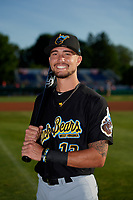 West Virginia Black Bears Ryan Haug (13) poses for a photo before a NY-Penn League game against the Batavia Muckdogs on June 27, 2019 at Dwyer Stadium in Batavia, New York.  West Virginia defeated Batavia 6-5 in ten innings.  (Mike Janes/Four Seam Images)