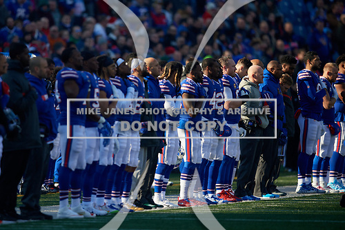 Buffalo Bills line up for the national anthem before an NFL football game against the New York Jets, Sunday, December 9, 2018, in Orchard Park, N.Y.  (Mike Janes Photography)