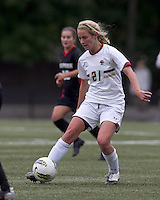 Boston College forward/midfielder Kate McCarthy (21) passes the ball. Boston College defeated North Carolina State,1-0, on Newton Campus Field, on October 23, 2011.