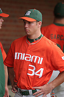 Jonathan Weislow of the Miami Hurricanes vs. the Virginia Cavaliers: March 24th, 2007 at Davenport Field in Charlottesville, VA.  Photo by:  Mike Janes/Four Seam Images