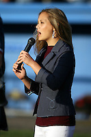June 18th 2008:  The national anthem singer during opening ceremonies for the Batavia Muckdogs at Dwyer Stadium in Batavia, NY.  Photo by:  Mike Janes/Four Seam Images