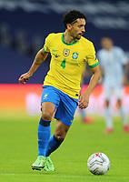 10th July 2021, Estádio do Maracanã, Rio de Janeiro, Brazil. Copa America tournament final, Argentina versus Brazil;  Marquinhos of Brazil