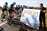 Carlos Barbero (ESP) NTT Pro Cycling waves to his fans during Stage 9 of the Vuelta Espana 2020 running 157.7km from B.M. Cid Campeador. Castrillo del Val to Aguilar de Campo, Spain. 29th October 2020.    <br /> Picture: Luis Angel Gomez/PhotoSportGomez | Cyclefile<br /> <br /> All photos usage must carry mandatory copyright credit (© Cyclefile | Luis Angel Gomez/PhotoSportGomez)