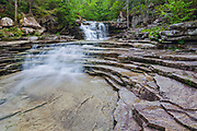 Coliseum Falls on Bemis Brook in Hart's Location, New Hampshire USA during the spring months. This waterfall is located along Bemis Brook Trail in Crawford Notch State Park.