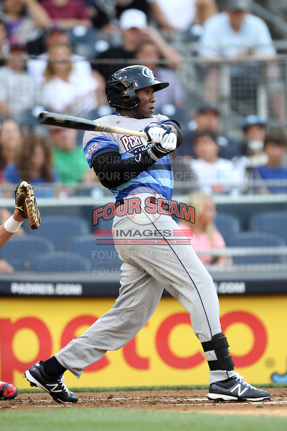 Outfielder Justin Williams #4 of Terrabonne H.S. in Houma, Louisiana participates in the Perfect Game All American Classic at Petco Park on August 12, 2012 in San Diego, California. (Larry Goren/Four Seam Images)