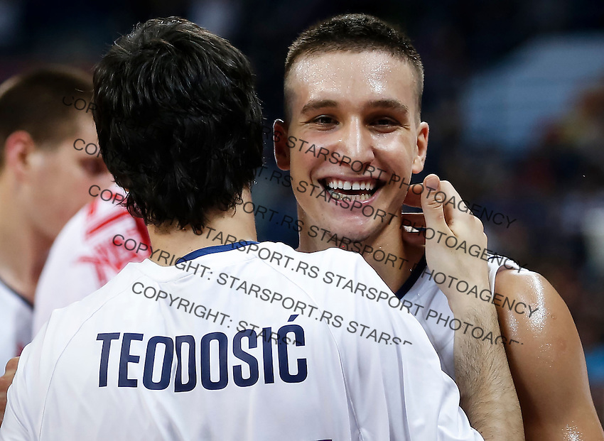 BELGRADE, SERBIA - JULY 09: Bogdan Bogdanovic (R) and Milos Teodosic (L) of Serbia celebrate victory after the 2016 FIBA World Olympic Qualifying basketball Final match between Serbia and Puerto Rico at Kombank Arena on July 09, 2016 in Belgrade, Serbia. (Photo by Srdjan Stevanovic/Getty Images)