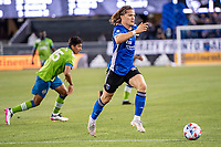 SAN JOSE, CA - MAY 12: Florian Jungwirth #23 of the San Jose Earthquakes dribbles the ball during a game between San Jose Earthquakes and Seattle Sounders FC at PayPal Park on May 12, 2021 in San Jose, California.
