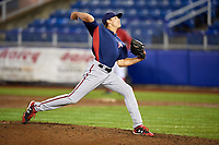 Potomac Nationals relief pitcher James Bourque (38) delivers a pitch during the second game of a doubleheader against the Salem Red Sox on June 11, 2018 at Haley Toyota Field in Salem, Virginia.  Potomac defeated Salem 4-0.  (Mike Janes/Four Seam Images)