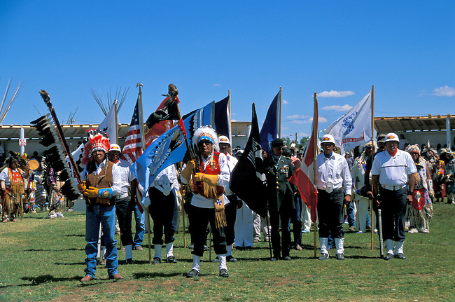 Blackfeet Grand Entry with war veterans and flags during the annual Pow wow at the Blackfeet Indian Days Festival in Browning Montana