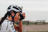 8th October 2021; AJ Bell Womens Cycling Tour, Stage 5, Colchester to Clacton on Sea.  Elisa Balsamo at the finish.