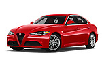 Stock pictures of low aggressive front three quarter view of 2019 Alfaromeo Giulia - 4 Door Sedan Low Aggressive