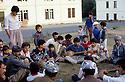 France 1989 <br /> In the military camp of Lastic, the arrival of Iraqi Kurdish immigrants  <br /> France 1989 <br /> L'arrivee au camp militaire de Lastic des immigrants kurdes irakien