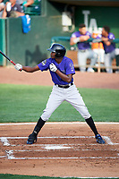 Yolki Pena (12) of the Grand Junction Rockies bats against the Ogden Raptors at Lindquist Field on June 14, 2019 in Ogden, Utah. The Raptors defeated the Rockies 12-0. (Stephen Smith/Four Seam Images)