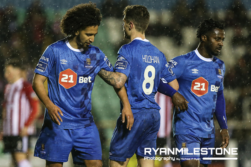 Waterford's Bastien Héry, Gavan Holohan and Stanley Aborah during the SSE Airtricity League Premier <br /> Division game between Waterford FC and Derry City on Friday 16th February 2018 at the RSC Waterford. Photo By: Michael P Ryan