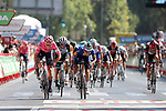 Magnus Cort Nielsen (DEN) EF Education-Nippo outsprints Andrea Bagioli (ITA) Deceuninck-Quick Step to win Stage 12 of La Vuelta d'Espana 2021, running 175km from Jaén to Córdoba, Spain. 26th August 2021.     <br /> Picture: Luis Angel Gomez/Photogomezsport   Cyclefile<br /> <br /> All photos usage must carry mandatory copyright credit (© Cyclefile   Luis Angel Gomez/Photogomezsport)