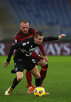 Football, Serie A: AS Roma - Sampdoria calcio, Olympic stadium, Rome, January 3, 2021. <br /> Sampdoria's Jacub Jankto (in front of) in action with Roma's Rick Karsdorp (behind) during the Italian Serie A football match between Roma and Sampdoria at Rome's Olympic stadium, on January 3, 2021.  <br /> UPDATE IMAGES PRESS/Isabella Bonotto