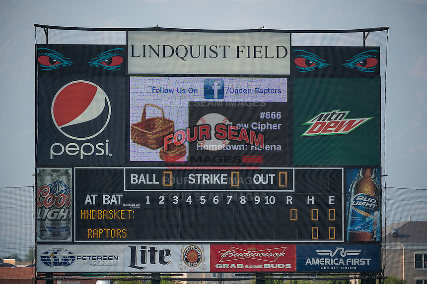The scoreboard of the Ogden Raptors before the game against the Helena Brewers in Pioneer League action at Lindquist Field on August 19, 2015 in Ogden, Utah. Ogden defeated Helena 4-2.  (Stephen Smith/Four Seam Images)