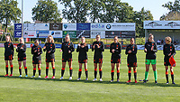 Lotte Keukelaar (11) of the Netherlands, Samya Masnaoui (19) of the Netherlands, Sanne Peereboom (9) of the Netherlands, Fieke Kroese (7) of the Netherlands, Robine Lacroix (6) of the Netherlands, Melissa Schilder (5) of the Netherlands, Maud Rutgers (3) of the Netherlands, Daily de Klonia (2) of the Netherlands, Goalkeeper Femke Liefting (1) of the Netherlands and Isa Kardinaal (4) of the Netherlands during the line up before an international friendly female soccer game between the national teams of Belgium , called the Red Flames U17 and the Netherlands on Wednesday 8th of September 2020  in Kalmthout , Belgium . PHOTO SPORTPIX.BE | SPP | SEVIL OKTEMduring an international friendly female soccer game between the national teams of Belgium , called the Red Flames U17 and the Netherlands on Wednesday 8th of September 2020  in Kalmthout , Belgium . PHOTO SPORTPIX.BE | SPP | SEVIL OKTEM