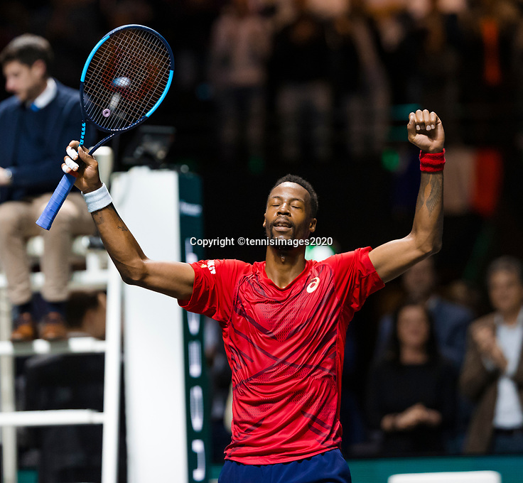 Rotterdam, The Netherlands, 16 Februari 2020, ABNAMRO World Tennis Tournament, Ahoy,<br /> Mens Single Final: Gaël Monfils (FRA) celebrates his win. <br /> Photo: www.tennisimages.com