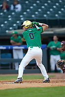 Jake Shepski (0) of the Notre Dame Fighting Irish at bat against the Florida State Seminoles in Game Four of the 2017 ACC Baseball Championship at Louisville Slugger Field on May 24, 2017 in Louisville, Kentucky. The Seminoles walked-off the Fighting Irish 5-3 in 12 innings. (Brian Westerholt/Four Seam Images)