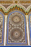 Fes, Morocco.  Geometric Stucco Design in Window of the Kairaouine Mosque.