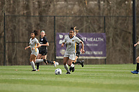 LOUISVILLE, KY - MARCH 13: Aaliyah Scott #11 of West Virginia University moves the ball up the field during a game between West Virginia University and Racing Louisville FC at Thurman Hutchins Park on March 13, 2021 in Louisville, Kentucky.