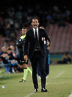 Calcio, Serie A: Napoli vs Juventus. Napoli, stadio San Paolo, 26 settembre 2015. <br /> Juventus' coach Massimiliano Allegri gives indications to his players during the Italian Serie A football match between Napoli and Juventus at Naple's San Paolo stadium, 26 September 2015.<br /> UPDATE IMAGES PRESS/Isabella Bonotto