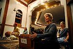 Ramloti (no last name) plays the harmonium during evening Aarati at the Haidakhandi Universal Ashram near Crestone, CO. Michael Brands for The New York Times.