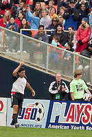 D.C. United's Alecko Eskandarian celebrates scoring the United's second goal of the game during first half action at the MLS season opener between DC United and the San Jose Earthquakes at RFK Stadium, Washington, DC, on April 3, 2004.
