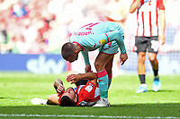 Conor Hourihane of Swansea City clashes with Emiliano Marcondes of Brentford during the Sky Bet Championship Play Off Final match between Brentford and Swansea City at Wembley Stadium in London, England, UK. Saturday 29 May 2021