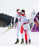 Sochi, RUSSIA - Mar 8 2014 -  Mark Arendz wins the Silver medal in the 7.5km standing biathlon and is greeted by Caroline Bisson at 2014 Paralympic Winter Games in Sochi, Russia.  (Photo: Matthew Murnaghan/Canadian Paralympic Committee)