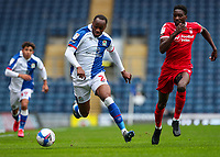 Blackburn Rovers' Ryan Nyambe gets away from Nottingham Forest's Sammy Ameobi<br /> <br /> Photographer Alex Dodd/CameraSport<br /> <br /> The EFL Sky Bet Championship - Blackburn Rovers v Nottingham Forest - Saturday 17th October 2020 - Ewood Park - Blackburn<br /> <br /> World Copyright © 2020 CameraSport. All rights reserved. 43 Linden Ave. Countesthorpe. Leicester. England. LE8 5PG - Tel: +44 (0) 116 277 4147 - admin@camerasport.com - www.camerasport.com
