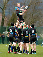 Wednesday 20th March 2019 | 2019 Schools Shield Final<br /> <br /> Patrick Dobie and Harry Sheridan contest this lineout during the 2019 Ulster Schools Cup Final between Sullivan and Bangor Grammar at The Dub Arena, Queens University, Belfast, Northern Ireland. Photo by John Dickson / DICKSONDIGITAL