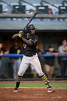 Bristol Pirates third baseman Sherten Apostel (47) at bat during the second game of a doubleheader against the Bluefield Blue Jays on July 25, 2018 at Bowen Field in Bluefield, Virginia.  Bristol defeated Bluefield 5-2.  (Mike Janes/Four Seam Images)