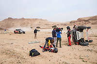 7th January 2021; Riyadh to Buraydah, Saudi Arabia; Dakar Rally, stage 5;  medical staff attend to an injred 332 Lategan Henk (zaf), Cummings Brett (zaf), Toyota, Toyota Gazoo Racing during the 5th stage of the Dakar 2021 between Riyadh and Buraydah, in Saudi Arabia on January 7, 2021