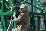 HOT SPRINGS, AR - MARCH 19: Media photographer putting a camera on the starting gate prior to the running of the third race at Oaklawn Park on March 19, 2016 in Hot Springs, Arkansas. (Photo by Justin Manning/Eclipse Sportswire/Getty Images)