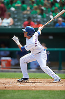 South Bend Cubs second baseman Carlos Sepulveda (2) at bat during the first game of a doubleheader against the Peoria Chiefs on July 25, 2016 at Four Winds Field in South Bend, Indiana.  South Bend defeated Peoria 9-8.  (Mike Janes/Four Seam Images)