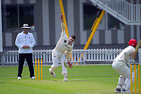 Hamish Bennett bowls during day two of the Plunket Shield match between the Wellington Firebirds and Canterbury at Basin Reserve in Wellington, New Zealand on Tuesday, 20 October 2020. Photo: Dave Lintott / lintottphoto.co.nz