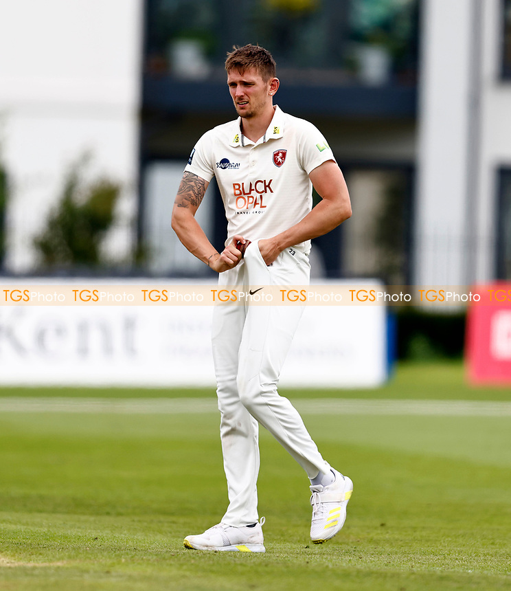Harry Podmore of Kent polishes the ball during Kent CCC vs Sussex CCC, LV Insurance County Championship Group 3 Cricket at The Spitfire Ground on 13th July 2021