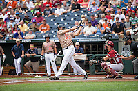 Daniel Pinero (22) of the Virginia Cavaliers bats during a game between the Virginia Cavaliers and Arkansas Razorbacks at TD Ameritrade Park on June 13, 2015 in Omaha, Nebraska. (Brace Hemmelgarn/Four Seam Images)