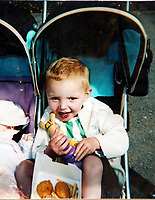 Pictured: Alan Gifford when he was 2 years old, before he lost his arms. Friday 18 August 2017<br /> Re: 11 year old Alan Gifford who has two prosthetic arms, Loughor near Swansea, Wales, UK.