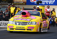 Oct 4, 2013; Mohnton, PA, USA; NHRA pro stock driver Jeg Coughlin during qualifying for the Auto Plus Nationals at Maple Grove Raceway. Mandatory Credit: Mark J. Rebilas-