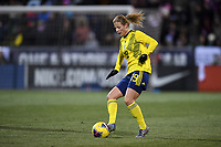COLUMBUS, OH - NOVEMBER 07: Anna Anvegard #19 of Sweden moves with the ball during a game between Sweden and USWNT at MAPFRE Stadium on November 07, 2019 in Columbus, Ohio.