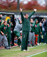 Miami head coach Tom Anagnost reacts to a chance on goal during the game at Ludwig Field in College Park, MD.  Maryland defeated Miami, 2-1, in overtime.