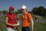 Lisa Maguire with her American opponent Tiffany Lua before teeing off at the Junior Ryder Cup at Valhalla Golf Club, Louisville, Kentucky, USA, 17th September 2008 (Photo by Eoin Clarke/GOLFFILE)