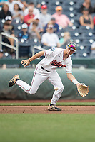 Auburn Tigers third baseman Julien Eduoard (10) fields a ground ball during Game 7 of the NCAA College World Series against the Louisville Cardinals on June 18, 2019 at TD Ameritrade Park in Omaha, Nebraska. Louisville defeated Auburn 5-3. (Andrew Woolley/Four Seam Images)