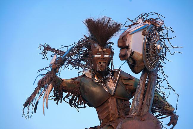 Scrap metal sculpture on the University of Montana campus